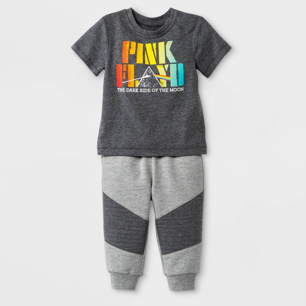 Baby Boys' Perryscope Pink Floyd 2pc Short Sleeve T-Shirt and Jogger Set - Gray 18M