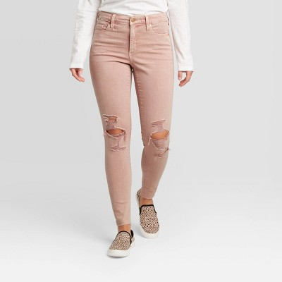 Women's High-Rise Distressed Skinny Jeans - Universal Thread™ Pink