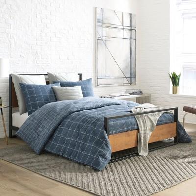 Kenneth Cole New York Holden Grid Comforter-Sham Set - Blue
