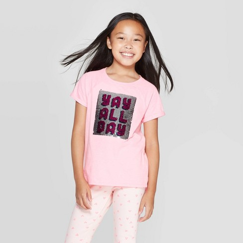 Girls' Short Sleeve Flip Sequin Yay All Day T-Shirt - Cat & Jack™ Pink - image 1 of 4