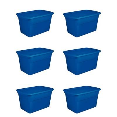 Sterilite 30 Gallon Plastic Stackable Storage Tote Container Box, Blue (6 Pack)