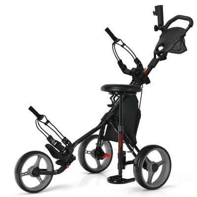 Goplus Folding 3 Wheels Golf Push Cart W/Seat Scoreboard Adjustable Handle Red\Blue\Grey\Green