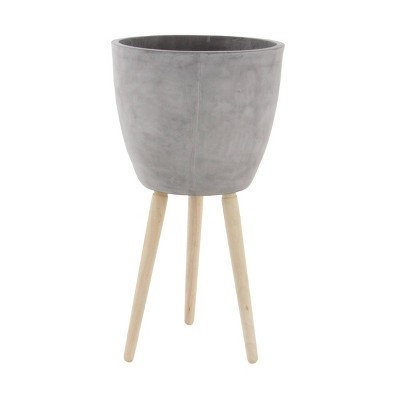 Modern Clay Plant Stand with Tripod Wood Base - Olivia & May