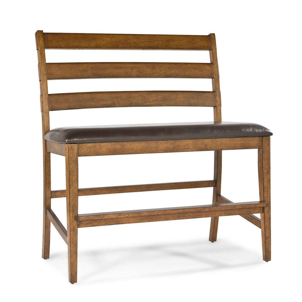Santa Clara 24 Barstool Height Ladder Back Bench with Faux Leather Seat Brandy Finish - Intercon, Rich Brandy Finish