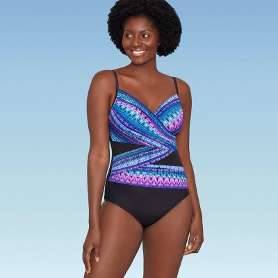 Women's Slimming Control Mesh Inset One Piece Swimsuit - Dreamsuit by Miracle Brands Jewel Stripe