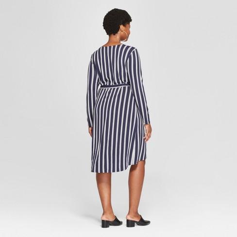 0e272c9d4285b Women s Plus Size Striped Wrap Dress - Ava   Viv™ Navy White 1X   Target