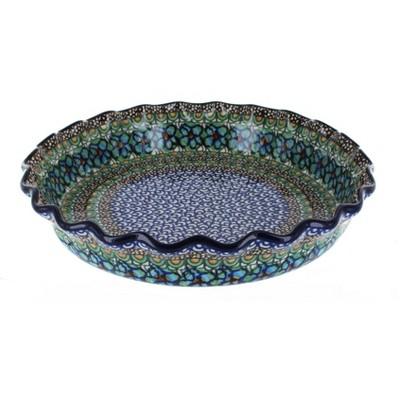 Blue Rose Polish Pottery Mardi Gras Pie Plate