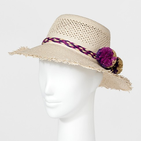 Women's Straw with Braided Purple Band Boater Hat - A New Day™ Tan - image 1 of 1