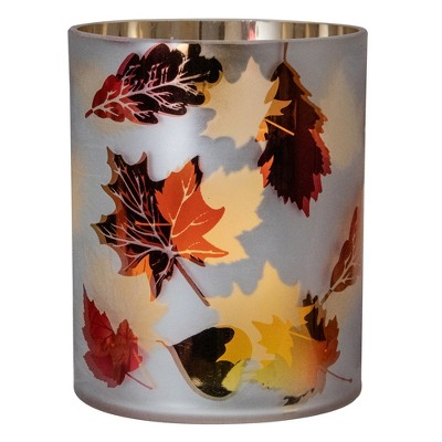 "Northlight 6"" Matte White and Gold Autumn Leaves Flameless Glass Candle Holder"