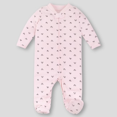 Lamaze Baby Girls' Organic Cotton Heart Thermal Sleep N' Play - Pink Newborn