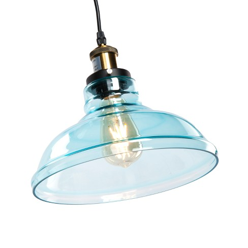 Branwen Colored Glass Bell Pendant Lamp - Aqua Blue - Aiden Lane - image 1 of 6