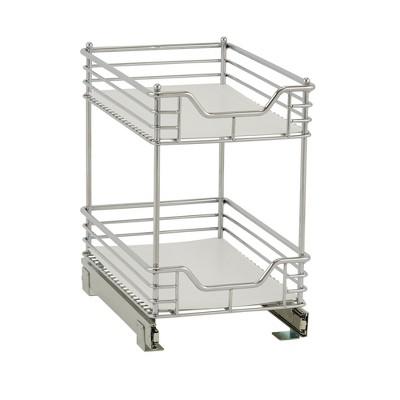 Design Trend 2-Tier Double Basket Sliding Under - Cabinet Organizer 11.5  Standard Depth Chrome