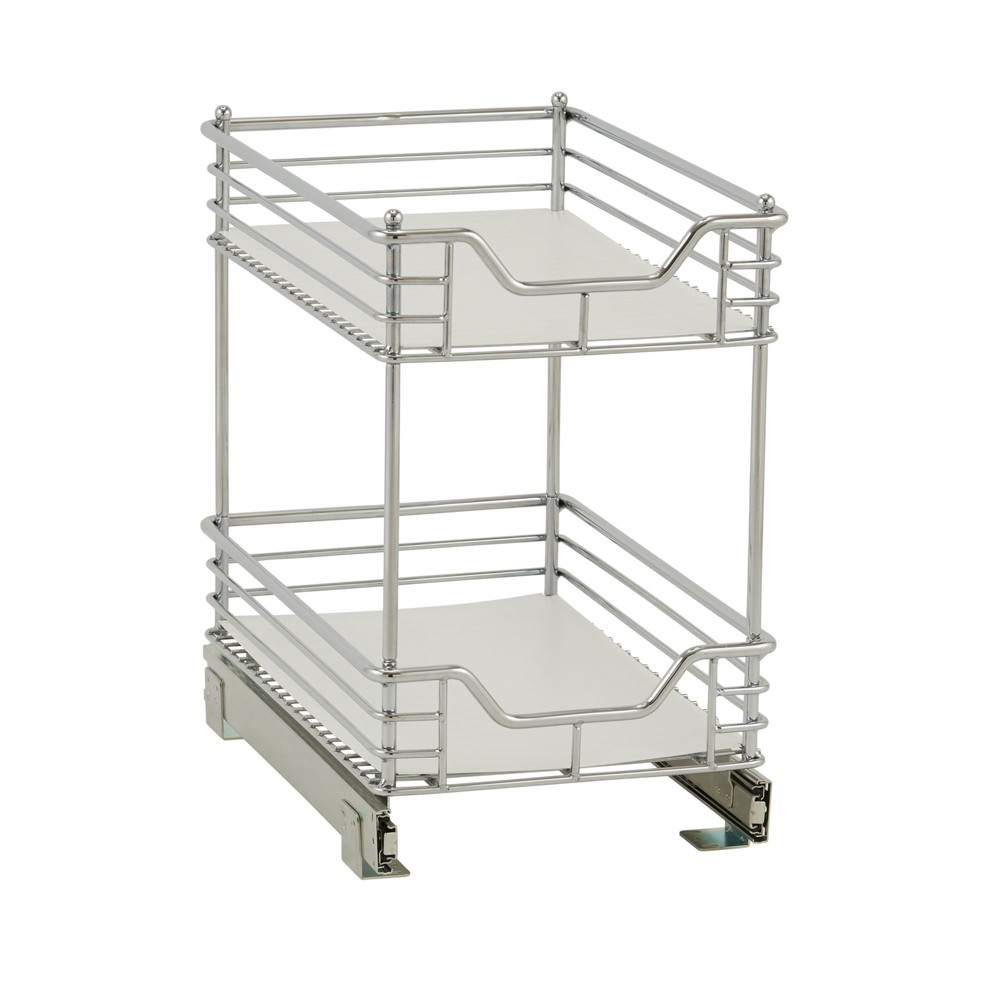 Image of Design Trend 2-Tier Double Basket Sliding Under - Cabinet Organizer 11.5 Standard Depth Chrome (Grey)