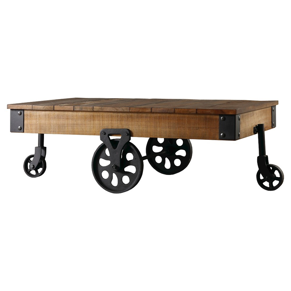 "Image of ""42"""" Ronay Rustic Industrial Factory Cart Cocktail Table Natural - Inspire Q"""
