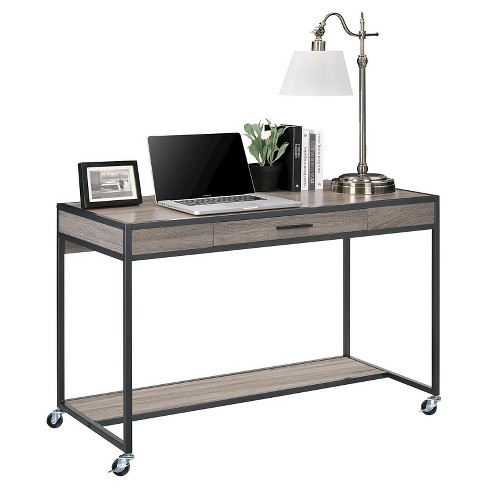 Montgomery Mobile Desk with Metal Frame - Distressed Gray Oak/Black ...
