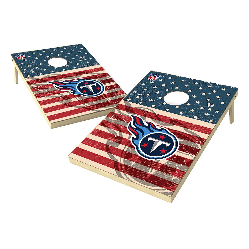 NFL Tennessee Titans Wild Sports Worn Shadow Stars and Stripes 2x3ft. Cornhole Bean Bag Toss Set