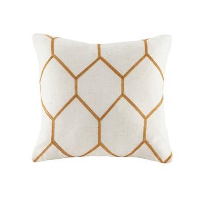 "2pk 20""x20"" Oversize Geometric Embroidered Square Throw Pillow Orange"