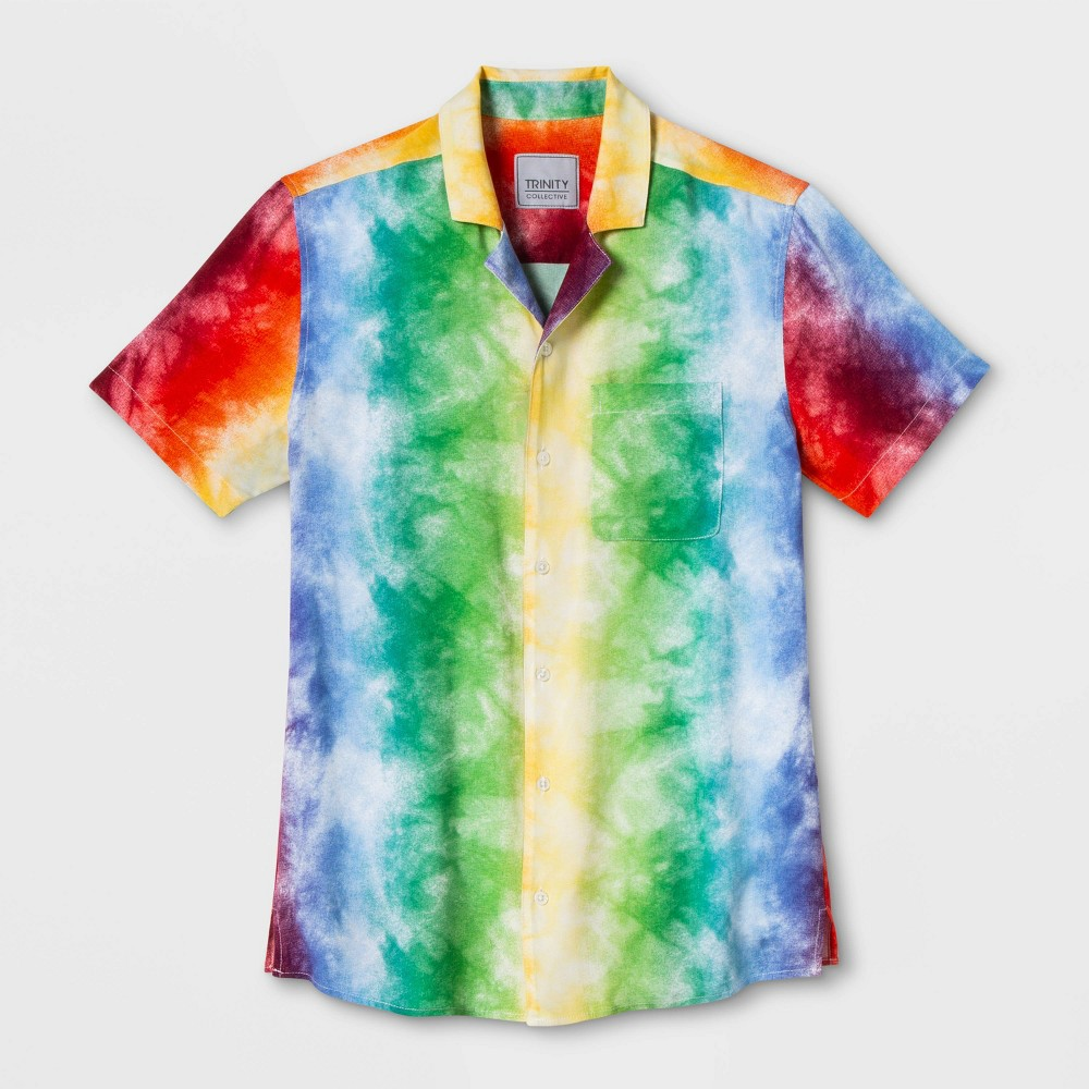 Pride Gender Inclusive Adult Tie Dye Rainbow Button Down Camp Shirt