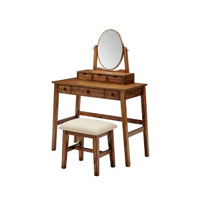 Lorna Vanity Set Walnut - Linon