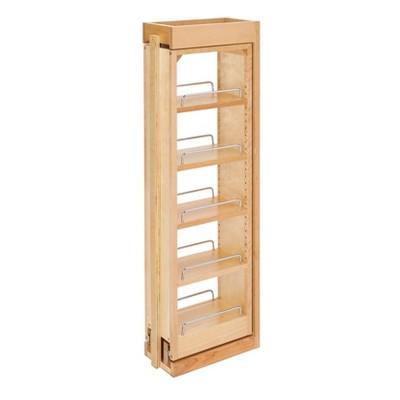 Rev-A-Shelf 432-WF36-6C 6 x 36 Inch Wooden Adjustable Pull-Out Between Cabinet Wall Filler Kitchen Storage Shelf Spice Rack Organizer Unit