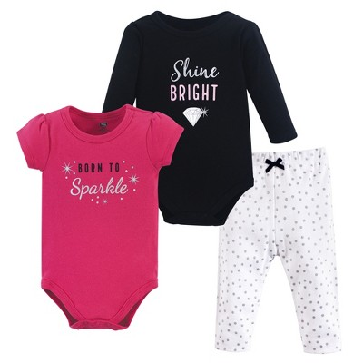 Hudson Baby Infant Girl Cotton Bodysuit and Pant Set, Sparkle