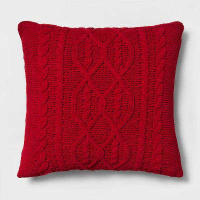 Chenille Cable Knit Oversize Square Throw Pillow Red - Threshold™