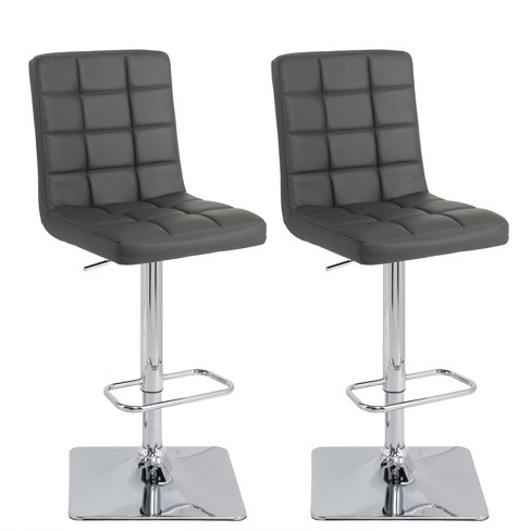 Adjustable Bonded Leather Barstool Dark Grey Set of 2 - CorLiving - image 1 of 9