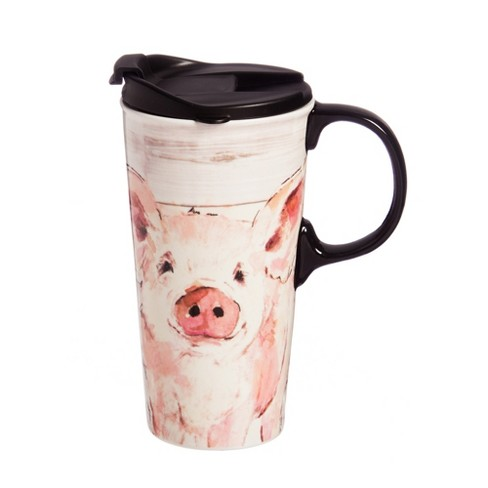 Cypress Home Ceramic Perfect Cup w/Box, 17 oz., Pretty Pink Pig - image 1 of 2
