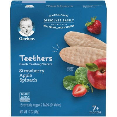 Gerber Teethers Strawberry Apple Spinach - 12ct/1.7oz Total