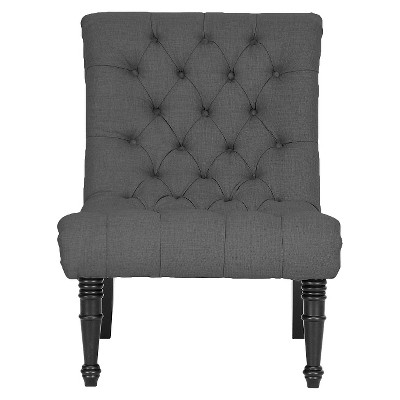 Caelie Linen Modern Lounge Chair Gray   Baxton Studio
