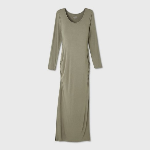 Long Sleeve Fitted Maternity Dress Isabel Maternity By Ingrid Isabel Light Olive M Target