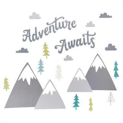 Wall Decal Adventure Awaits 21pc - Cloud Island™ - Gray