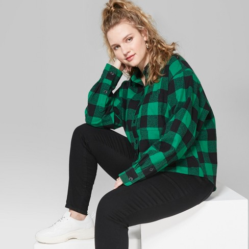 bad965d3 Women's Plus Size Plaid Long Sleeve Cropped Button-Down Shirt - Wild Fable™ Forest  Green