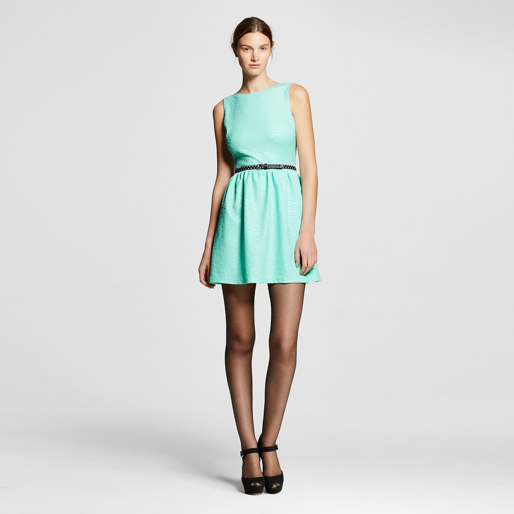 Women's Jacquard Fit and Flare Dress Mint (Green) L - Necessary Objects
