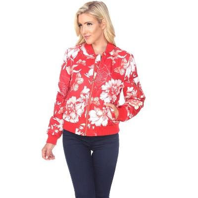 Women's Floral Bomber Jacket - White Mark