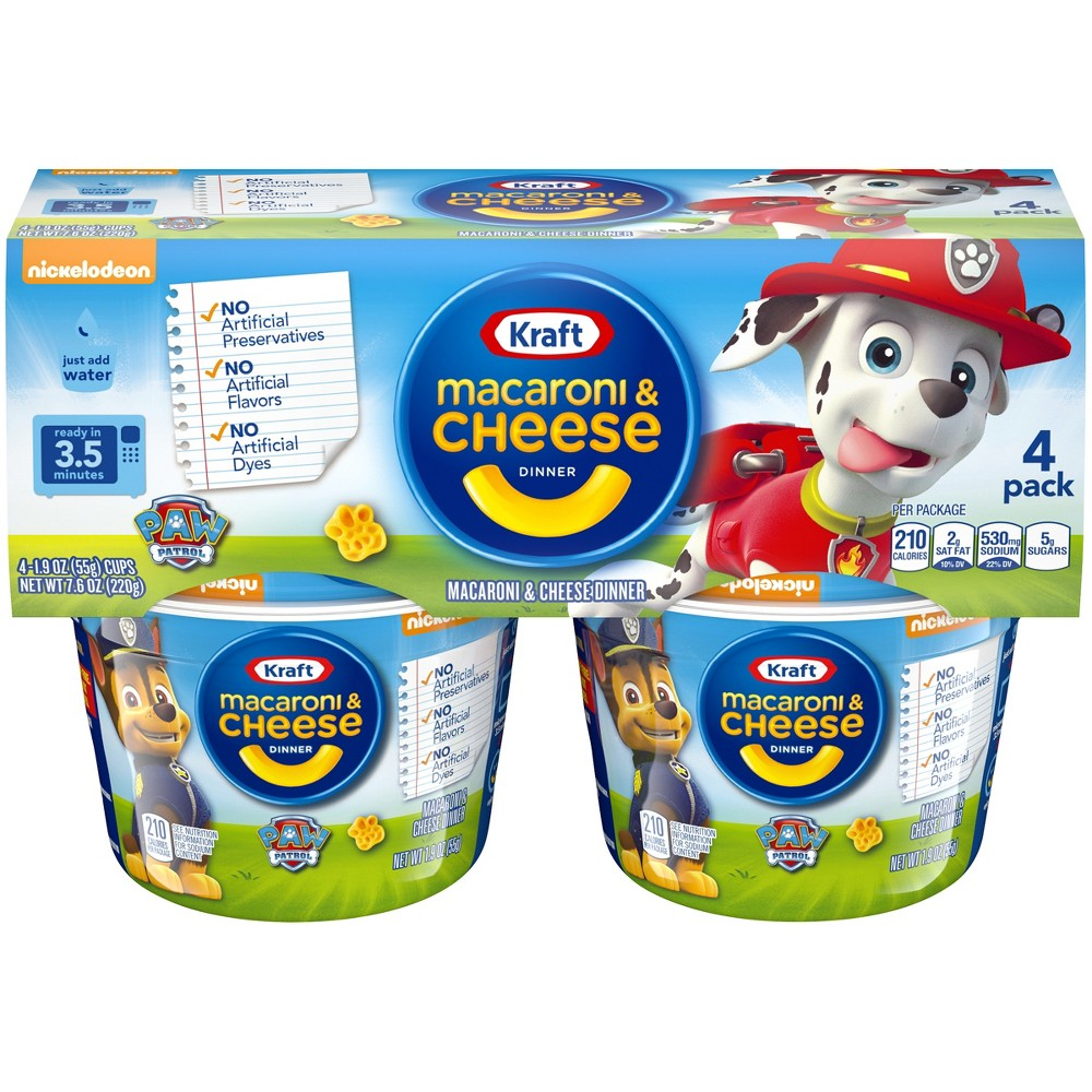 Kraft Paw Patrol Shapes Mac & Cheese 4pk Cups 7.6oz