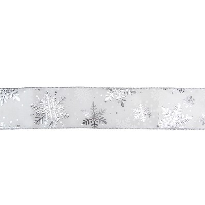 """Northlight White and Silver Snowflake Christmas Wired Craft Ribbon 2.5"""" x 16 Yards"""