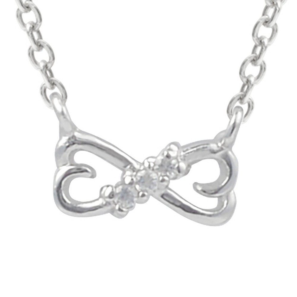 1/10 CT. T.W. Round-cut CZ Double Heart Pave Set Necklace in Sterling Silver - Silver, Girl's