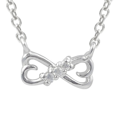 1/10 CT. T.W. Round-cut CZ Double Heart Pave Set Necklace in Sterling Silver - Silver - image 1 of 2