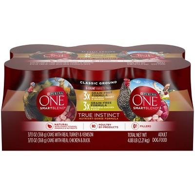 Purina ONE SmartBlend True Instinct Grain Free Classic Ground with Real Turkey & Chicken Wet Dog Food - 13oz/6ct Variety Pack