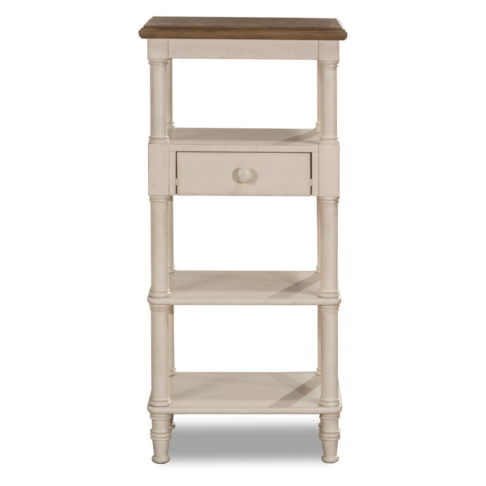 Image of Seneca Tall Basket Stand With Middle Drawer Wood Driftwood Top/Sea White Base Baskets Not Included - Hillsdale Furniture