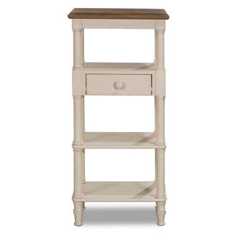 Seneca Tall Basket Stand With Middle Drawer Wood Driftwood Top Sea White Base Baskets Not Included Hillsdale Furniture