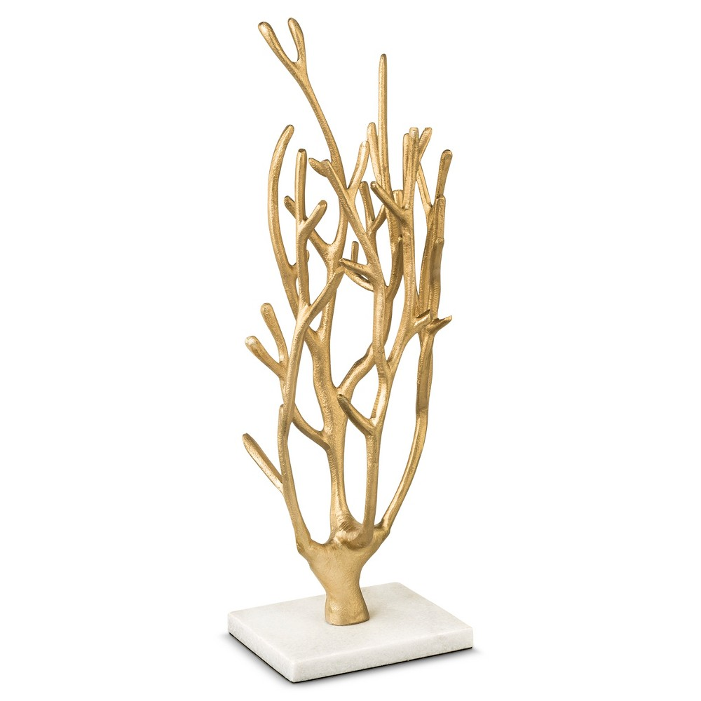 Marble and Coral Jewelry Tree Storage Gold - West Emory Whether it's your prized pearl necklace or your favorite '80s inspired hoop earrings, this gold coral jewelry tree with marble base from West Emory is just what you need to keep your jewelry out of knots or entanglements and perfectly organized. This worthy-of-display jewelry stand features shimmering branches that accommodate a variety of pieces with varying lengths and its marble base adds to its appeal. Gorgeous and one-of-a-kind, this stand will help you hang all your jewelry in style! Gender: Unisex.