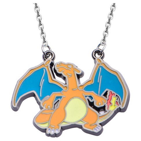 "Girls' Pokémon™ Charizard Stainless Steel and Enamel Pendant with Chain (18"") - image 1 of 2"