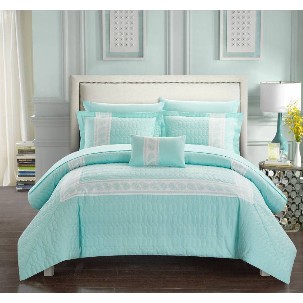 Chic Home Design King 8pc Mason Bed In A Bag Comforter Set Aqua (Blue)