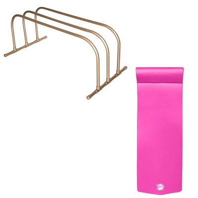 TRC Recreation PVC Pool Storage Drying Rack w/ 70 Inch Lounger Pool Float Pink