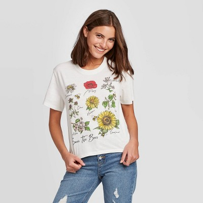 Women's Floral Print Save the Bees Short Sleeve Cropped Graphic T-Shirt (Juniors') - Ivory