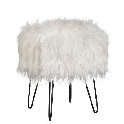 Miranda Faux Fur Stool - Buylateral