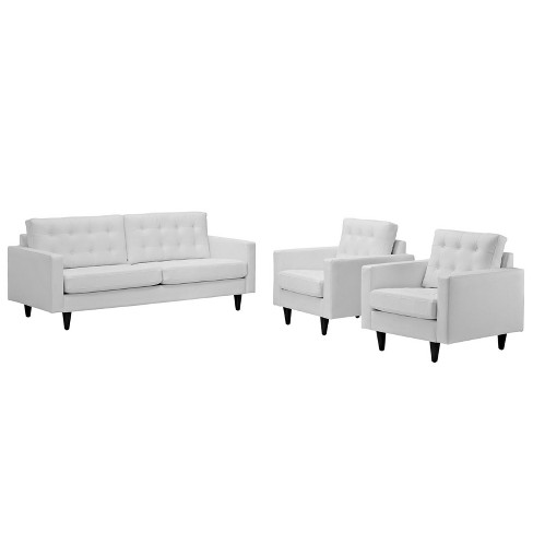 Set of 3 Empress Sofa and Armchairs White - Modway - image 1 of 4
