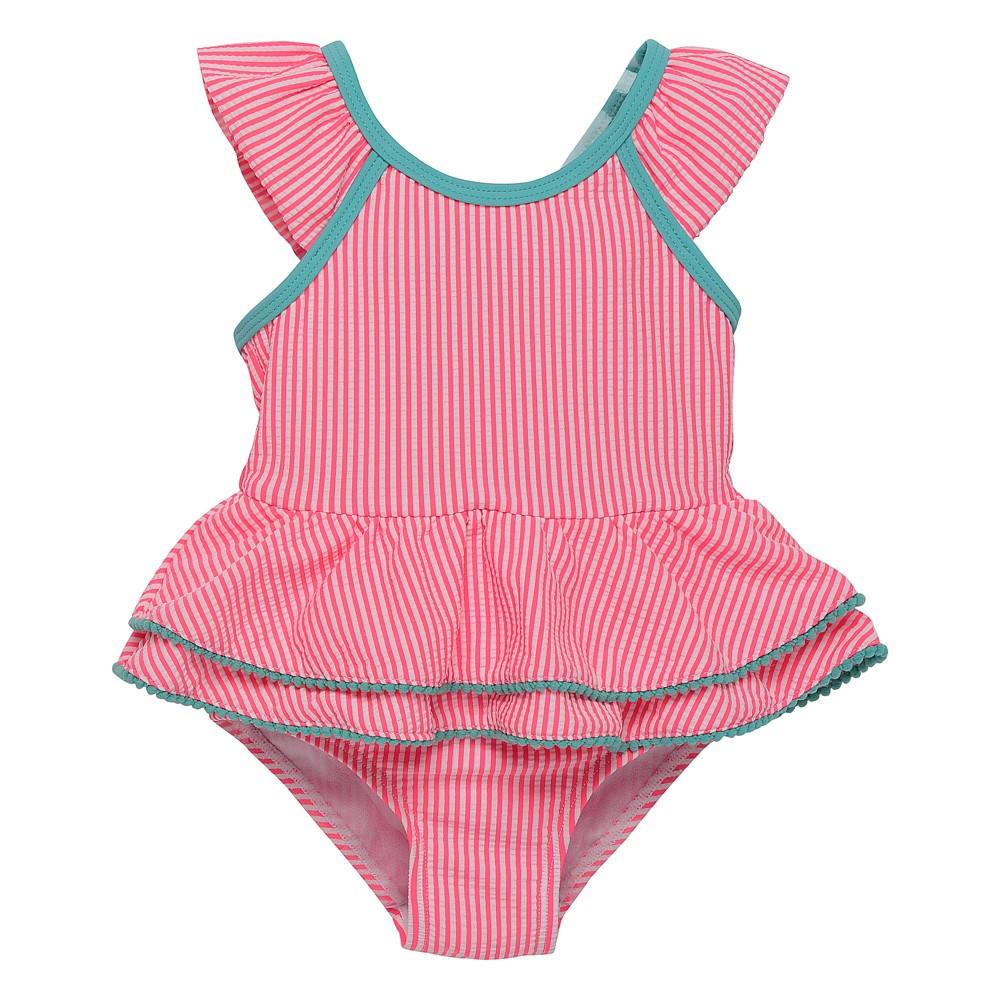 Wetsuit Club Baby Girls' Seersucker One Piece Swimsuit - Pink 12M